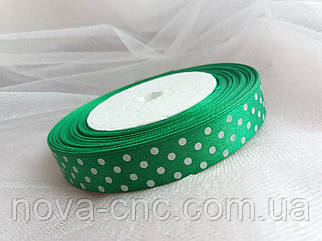 "Ленты  атлас ""Горох"" зеленый 1,5 см"