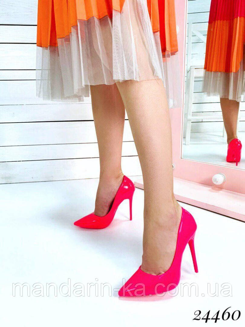 Туфли  женские  лодочки  розовые шпилька  10,5 см