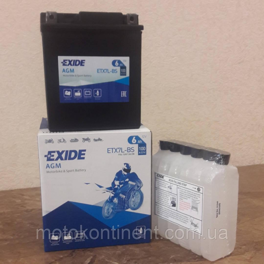 Акумулятор для мотоцикла гелевий EXIDE ETX7L-BS = YTX7L-BS 6 Ah 113x70x130