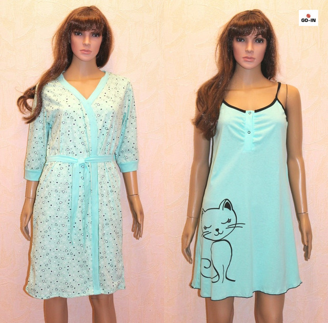 Жіночий комплект халатик і нічна сорочка,для вагітних і годуючих мам м'ята