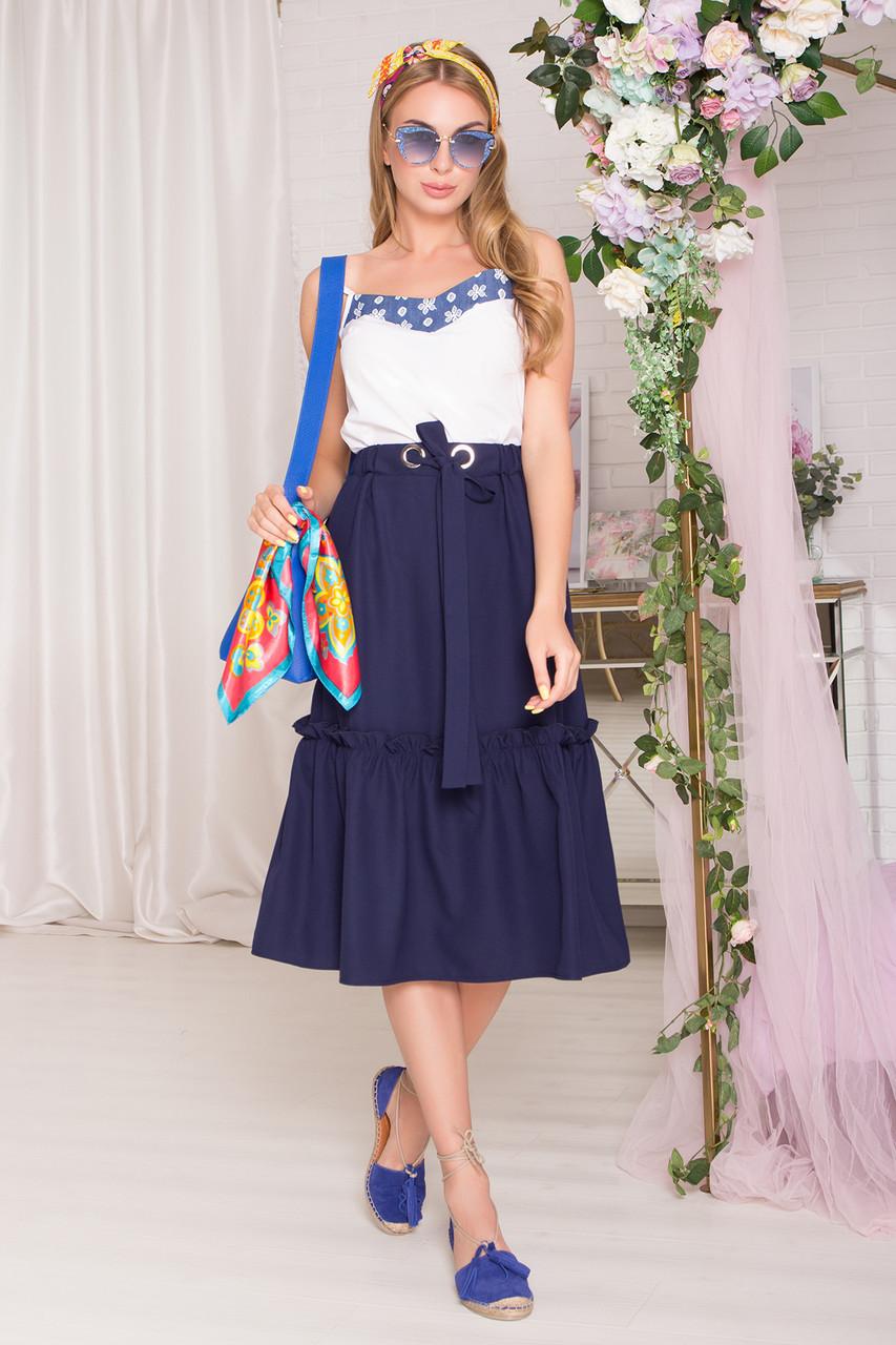 Летняя юбка миди с поясом синяя