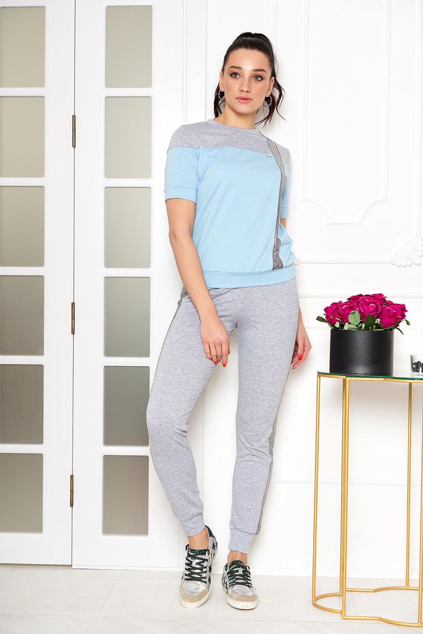 Женский спортивный костюм прогулочный голубой , фото 1