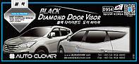 Ветровики с хром полосой, дефлекторы окон Hyundai Santa Fe 2012-> (D954) Auto Clover