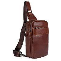 Кожаный мини-рюкзак на одну шлейку   на одной шлейке, фото 1