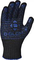 Перчатки плетеные черные с точкой ПВХ, 667