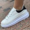 Женские кроссовки белые на платформе ( код 8012 )