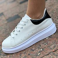 Женские кроссовки белые на платформе ( код 8012 ), фото 1