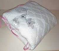 Вязанный плед для новорожденного в роддом, для крещения  и для прогулок Белый, фото 1