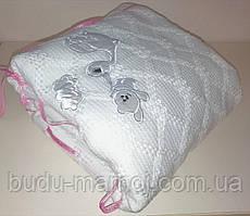 Вязанный плед для новорожденного в роддом, для крещения  и для прогулок Белый