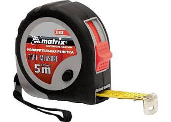 Рулетка 5м х 19мм, прорезиненный корпус, плавная фиксация MTX (310889)