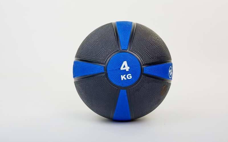 Мяч медицинский медбол Zelart Medicine Ball FI-5122-4 4кг (резина, d-21,5см, черный-синий)