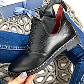 38 р. Ботинки женские деми черные кожаные на низком ходу,демисезонные,из натуральной кожи,натуральная кожа