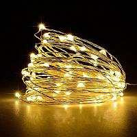 Гирлянда Нить Светодиодная Роса 10 м LED Теплый Белый на Батарейках