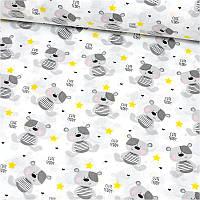 Поплин Мишки с желтыми звездочками