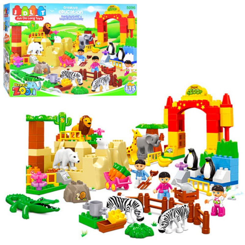 Конструктор для малышей крупные детали Большой Зоопаркна 115детали, JDLT 5096аналог лего дупло