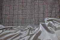 Ткань жакетная,  пальтовая №362 беж клетка терракот, фото 1