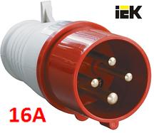 Силовая вилка переносная 4-х полюсная 014 3Р+РЕ 16А 380-415В IP44 IEK