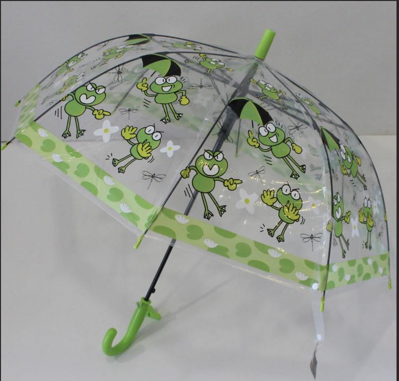 Детский прозрачный зонт трость Вжик
