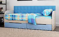 """Кровать """" Л-7"""" детская односпальная с мягкой прямой спинкой Lion"""