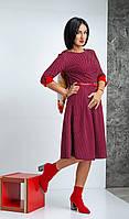 Красивое деловое платье в мелкий горох бордовое размер 44-52