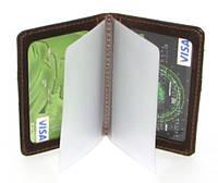 Кожаная обложка на права, биометрический паспорт, для водительского удостоверения с файлами коричневая