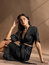 """Шелковая женская блуза на запах """"Dayna"""" с декольте и коротким рукавом (7 цветов), фото 3"""