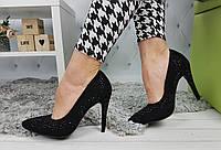 Туфли-лодочки женские на шпильке со стразами, черные, материал - эко-замша, код SL-812