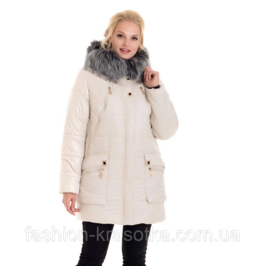 Стильный женский зимний пуховик с мехом