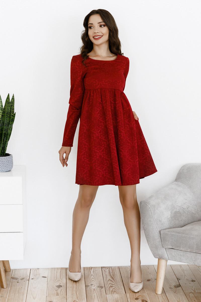 Свободное платье с завышенной талией, №145, бордовое