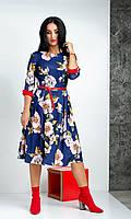 Цветочное повседневное платье синего цвета  размер 44-52, фото 1