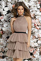 Коктейльное платье на завязке на шее с поясом арт 7261