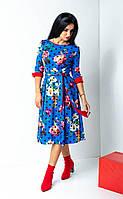 Цветочное женское красивое платье электрик размер: 44-54