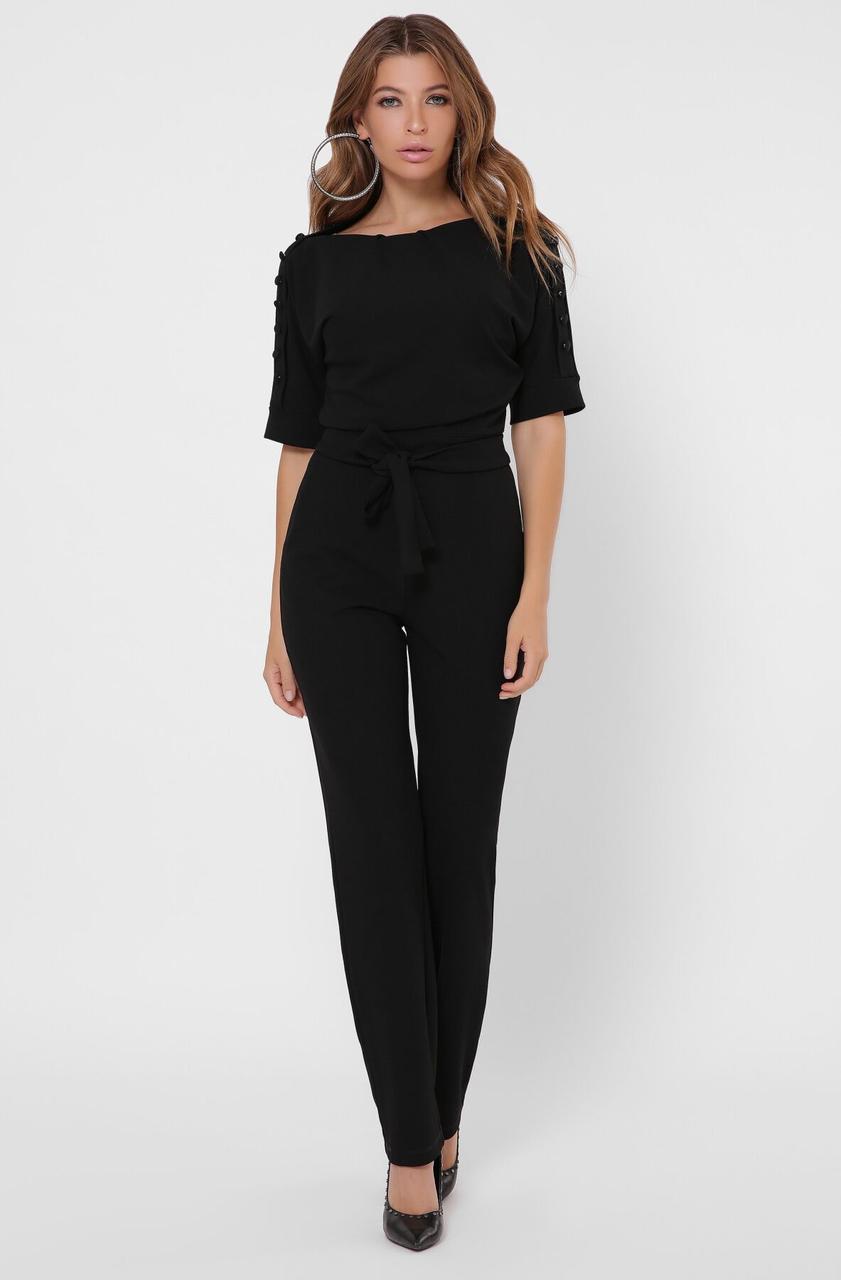 Стильный женский комбинезон с брюками черный
