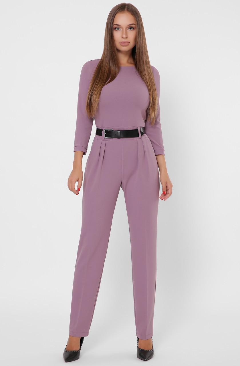 Красивый женский комбинезон с брюками сиреневый