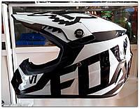 Кроссовый мото шлем чёрно-белый Fox, фото 1