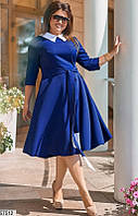 Платье большого размера в офисном стиле ярко-синее