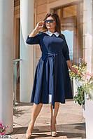 Платье больших размеров в офисном стиле синее