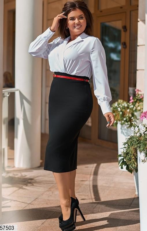 Платье футляр большого размера в деловом стиле