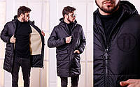 Зимнее пальто мужское на синтепоне и меху  мод.1115