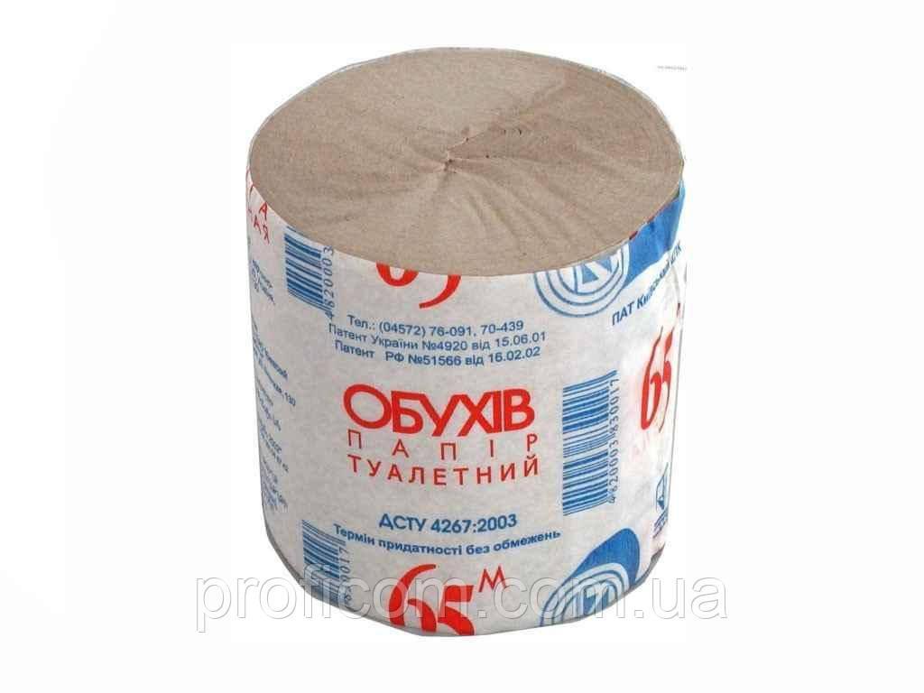 Туалетний папір Обухів б/г, 65м сірий