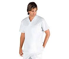 Топ медицинский мужской белый хирургический без карманов Atteks - 03301-1