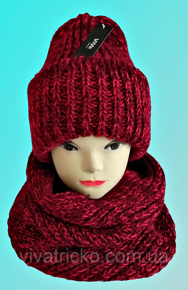 М 5082 Комплект женский, подростковый шапка+баф, марс, флис