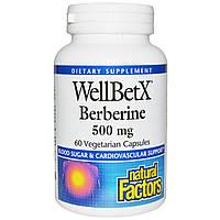Берберин WellBetX, Natural Factors, 500 мг, 60 вегетарианских капсул