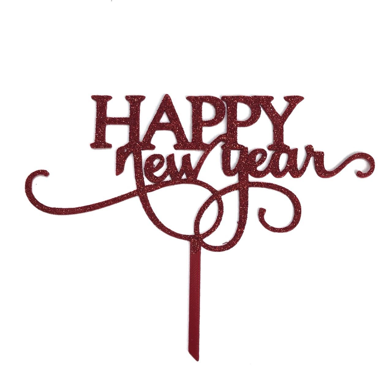 """Топпер """"Happy New Year"""" червоний з глітером"""