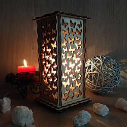 Соляные светильники в дереве Прямоугольный