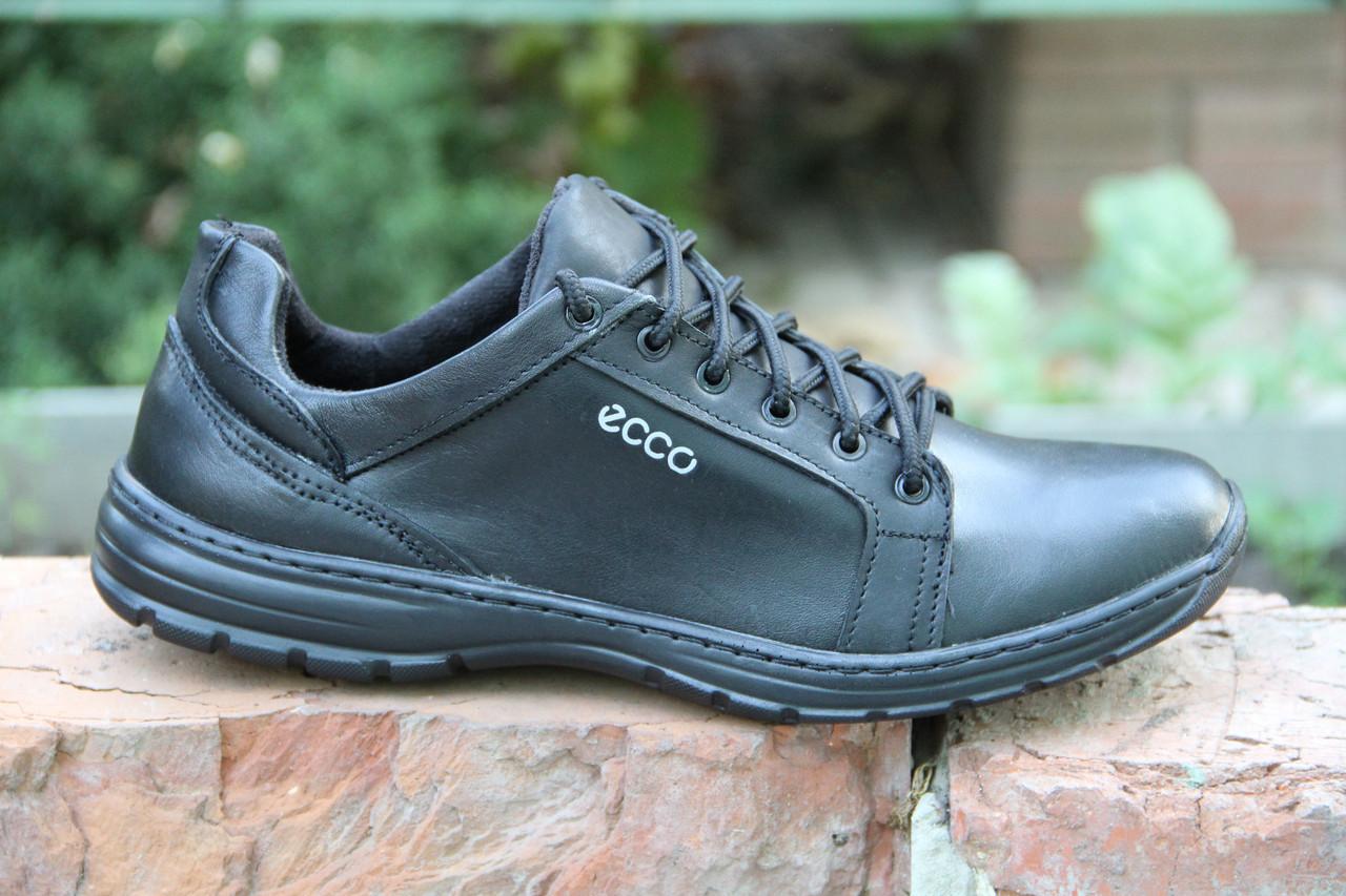 Туфли мужские из натуральной кожи черного цвета шнуровке Д 504
