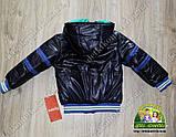 Комплект осенний для мальчика 1 годик: куртка, кофточка на флисе и джинсы утепленные, фото 3