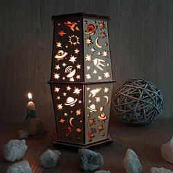 Соляные светильники в дереве Шестигранные