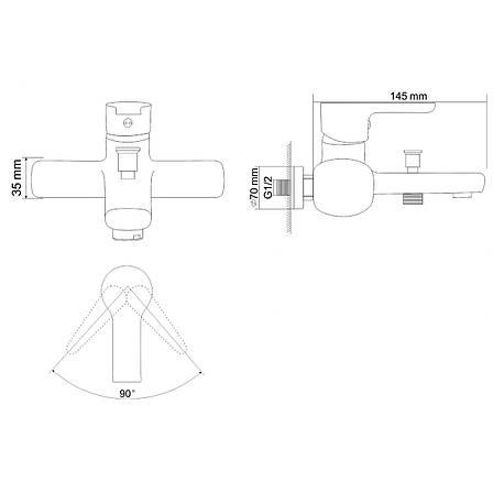 DUCT смеситель для ванны  однорычажный, хром  35 мм + ПОДАРОК, фото 2