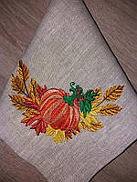 """Комплект праздничных льняных салфеток """"Праздник урожая"""" с вышивкой ручной работы, 6 шт."""